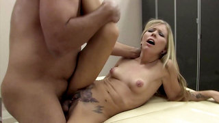 Blonde Tabitha James in tattoos and piercings has sex