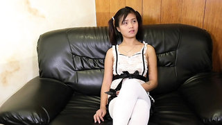 Delectable Filipino teen maid will do anything for a job