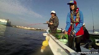 Japanese sailor Sena Sakura gives a blwojob and gets fucked on a fishing boat