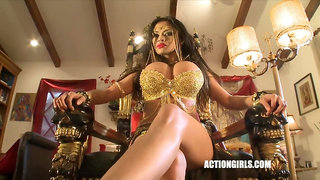 Asian stripper with monster fake tits dancing solo