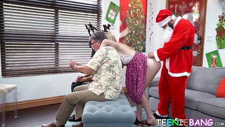 Adorable 18yo sucks Santa dick before riding him balls deep