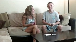 Mom and not her son play strip poker