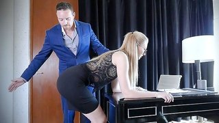 Amazingly sexy shaped blonde secretary Alexa Grace fucks with boss