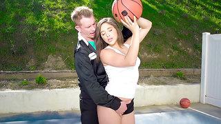 Abella Danger seduces her coach while practicing basketball