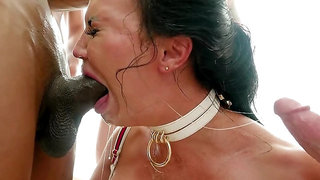 Guys make MILF with angelic sexy face get facial cumshots