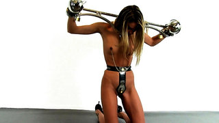 BDSM sub Bonnie Day nipples tormented and clit stimulated