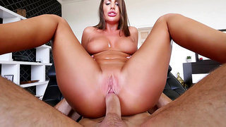 Canadian porn star August Ames takes a nice reverse cowgirl ride