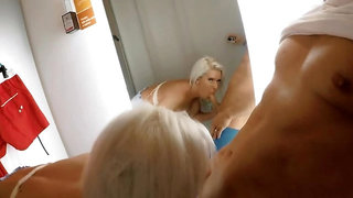 Sexy Shopping and awesome blowjob in fitting room. I leave cum on t-shirt