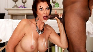 Black masseur gives a nice treat for a big-boobed Vanessa Videl