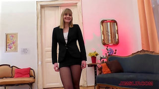 Blue- eyed, blonde woman, Lucette Nice is fucking a man who is not her husband
