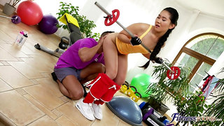 Energized Asian work out and fucks at the same time