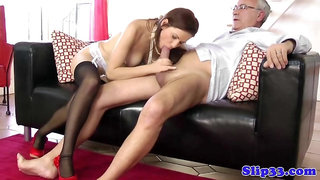 Classy euro makes old man blow