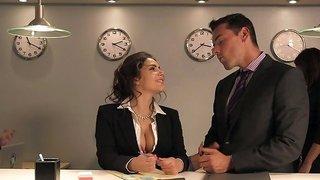 Slutty secretary gets stuck in elevator with two fuckers