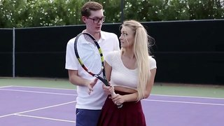 Natalia Starr gets fucked on the tennis court by her coach