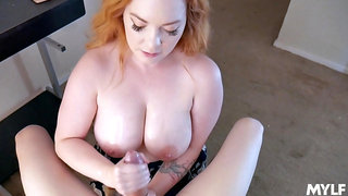 Ginger stepmom Summer Hart gives a titjob and enjoys eating sperm