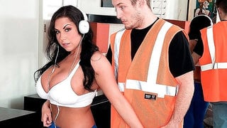 Cute big-boobed brunette Sheridan Love impaled from behind