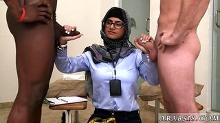 Arab Muslim lady in glasses gives handjob in Black vs White interracial threesome