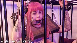 Fucking Machine Screw Submissive Girl Who Is Chained In Cage And Pillory