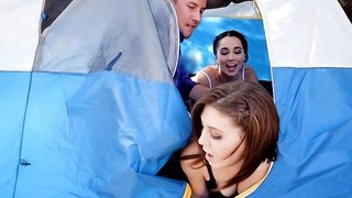 Young camping hotties have a threesome with a big cock guy