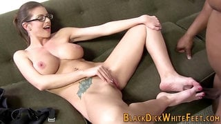 Busty babe gets feet fucked and soles jizzed