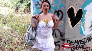Teen masturbates with a banana in the street - Miriam Prado
