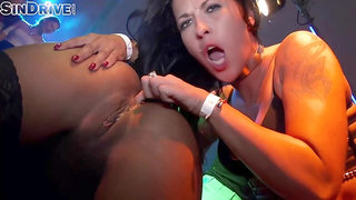 Kinky party girls Isabella, Chrystin and Terra Twain, are fingering each other in a techno club