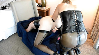 Crossdresser in Latex Double Anal Fisted and Pegged by Mistress