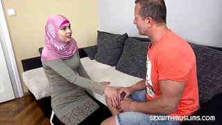 Lady in a pink hijab Keira Flow gets fucked by a long dick