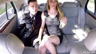 On their date in the back of their limo a guy creampies a hot girl