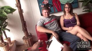Cuckold slut takes on 2 monster cocks cuming