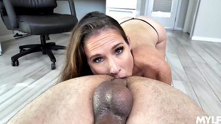 Man's powerful cock suits this freckled mature during a hot office POV