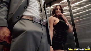Long dick goes up while elevator goes all the way down