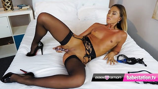 Natalia Forrest fucks herself with her glass dildo