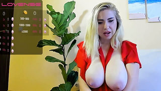 Blonde eats lunch and her big sweet tits