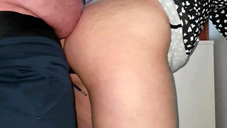 Stepmom fucked near the window by stepson while people watch