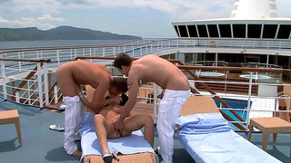Threesome fucking on the boat ends with facial for Honey Demon