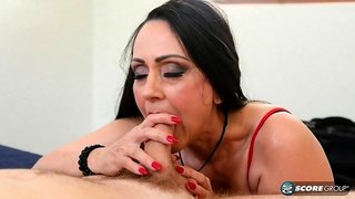 Well seasoned black haired beauty sucks and gets rammed hard