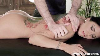 Big titty massage and upside down throat fuck scene featuring Romi Rain