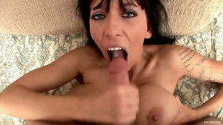 brunette Alia Janine - titjob, anal POV and ATM mouthful cumshot - big natural tits