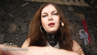 Become Lady Julina's latex slave and strapon sucker