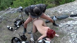 Medieval soldier babe and a guy fucking outdoors