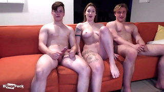 Blonde Hunk Boy Smashes Babe And Her Bi Boyfriend