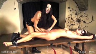 Skinny brunette is torturing her sex slave in the basement and whipping her to enjoy it