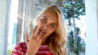 Teen With Pink Lips Sucking Her Fingers And Masturbates