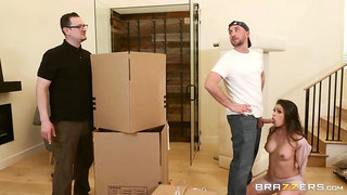 A delivery guy fucks a lustful housewife while her hubby isn't around