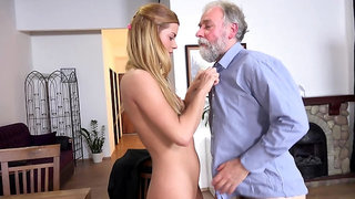 Delivery girl groped by old man and fucked on a table