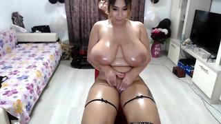 Webcam compilation - big monster tits, boob play, oiled up cam sluts masturbating solo
