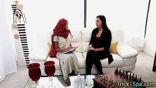 Muslim babe gets massaged