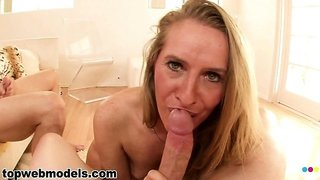 Sara James, an attractive blonde milf with tiny tits and a hot ass, loves a big cock