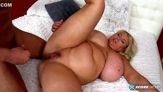 Chubby blondie with massive juggs Samantha Sanders gets fucked and facialized so damn fine